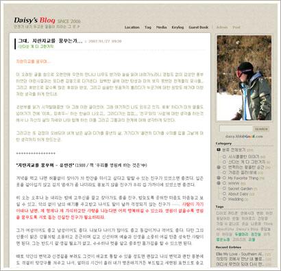 태터툴즈용 블로그 스킨 Beige_Daisy 1.1 화면